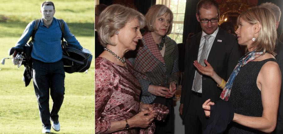 Living it Large – Gerry MccCann enjoying a round of golf (left); Kate McCann at Downing Street, London hobnobbing with Missing People CEO Martin Houghton-Brown, the Duchess of Gloucester and the then Home Secretary Theresa May on 23rd May 2012 (right).