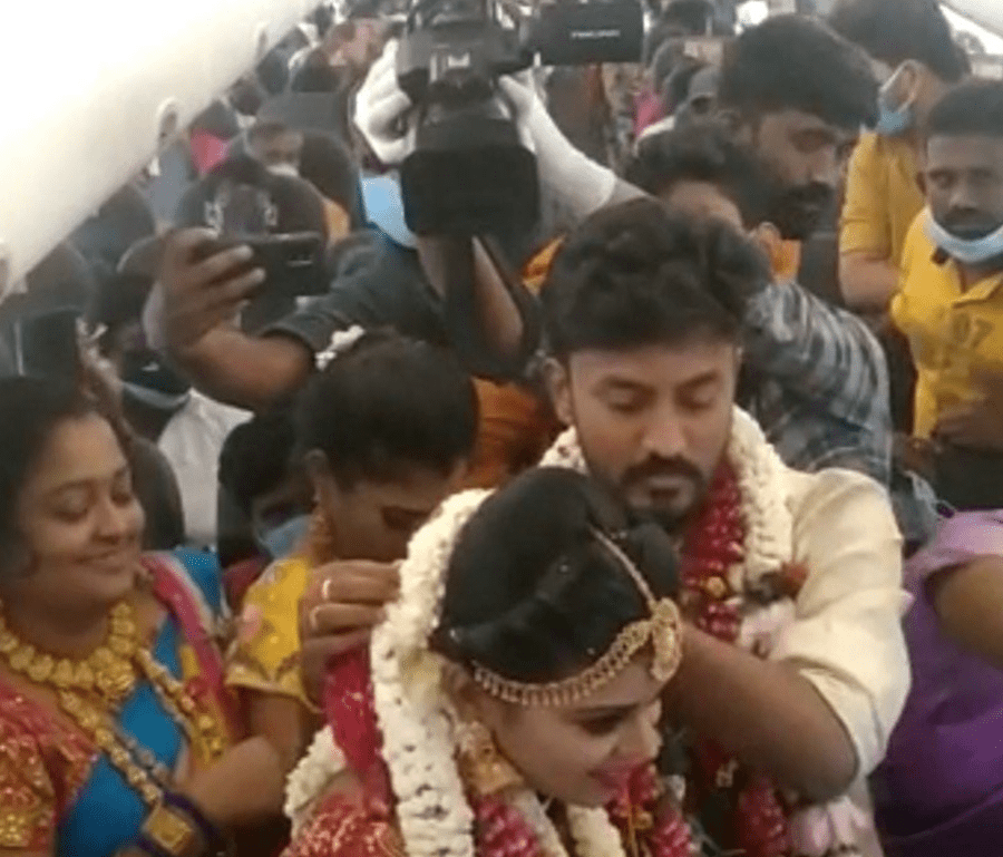 Indian variant COVID-19 wedding on a plane