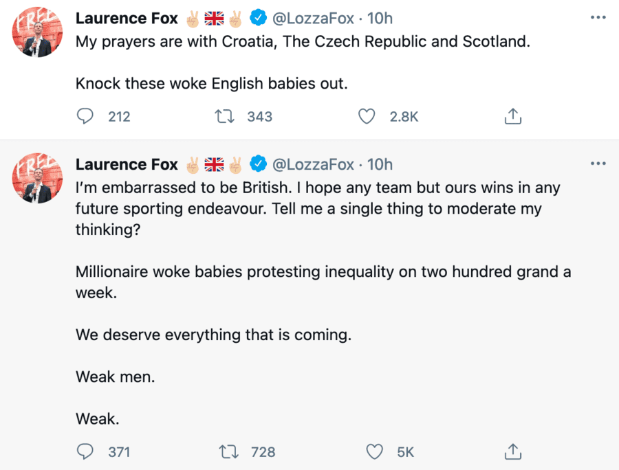 Laurence Fox tweets about football