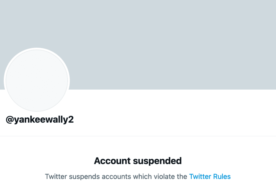 Yankee Wally Twitter suspended