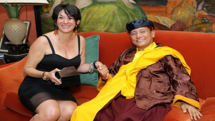 Give Up - Ghislaine Maxwell with his holiness the Gyalwang Drukpa